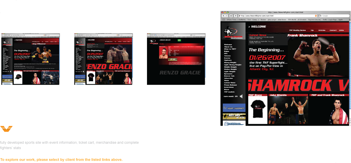fully developed sports site with event animations, ticket cart, merchandise and fighters' stats